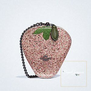 COACH Strawberry Coin Case Bag Charm (Rose Gold)